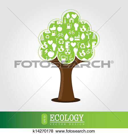 Clip Art of ecologic tree k14270178.