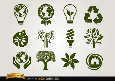 Ecologic icons green, Clipart.