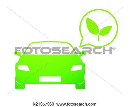 Clipart of Car with a comic balloon and an ecologic icon k21357360.