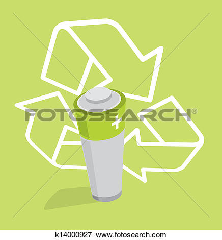 Clip Art of Renewable Energy / Ecologic Green Battery.