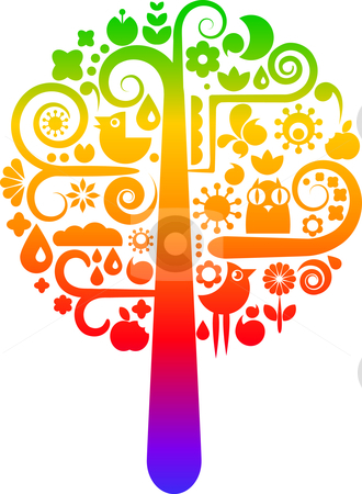 Rainbow tree with ecological icons stock vector.