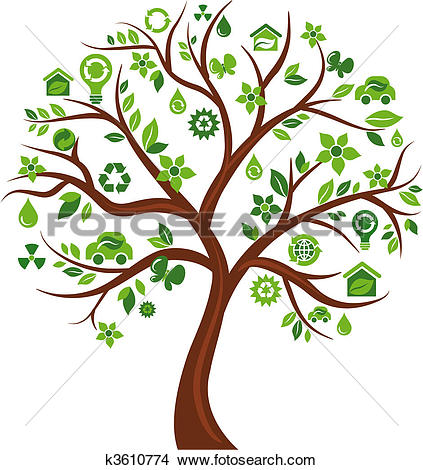 Clipart of Ecological icons tree.