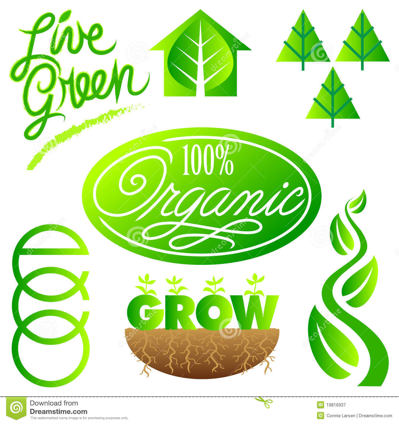 Green Ecology Clip Art Set/eps Royalty Free Stock Photography.