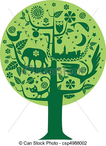 Vector Illustration of Ecology and Nature tree.