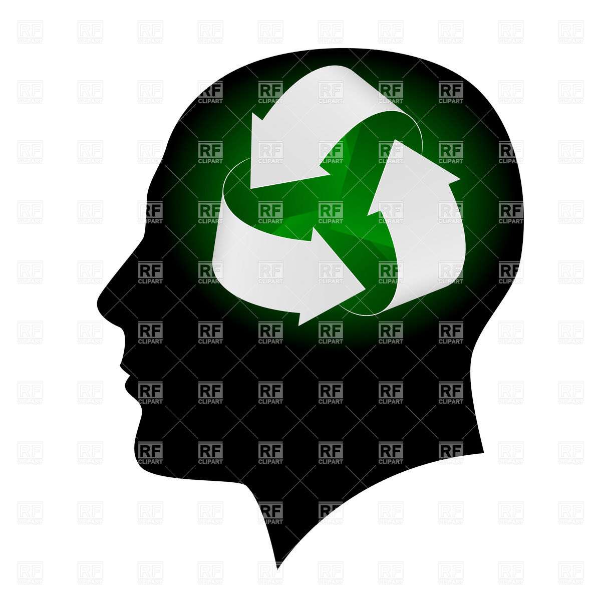Think ecologically recycle symbol inside man's head Vector Image.