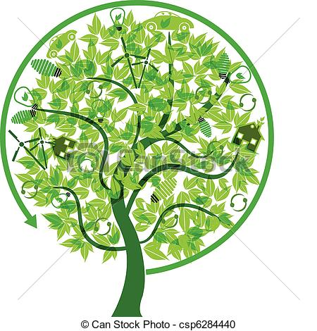 Vector Clipart of eco friendly tree concept.