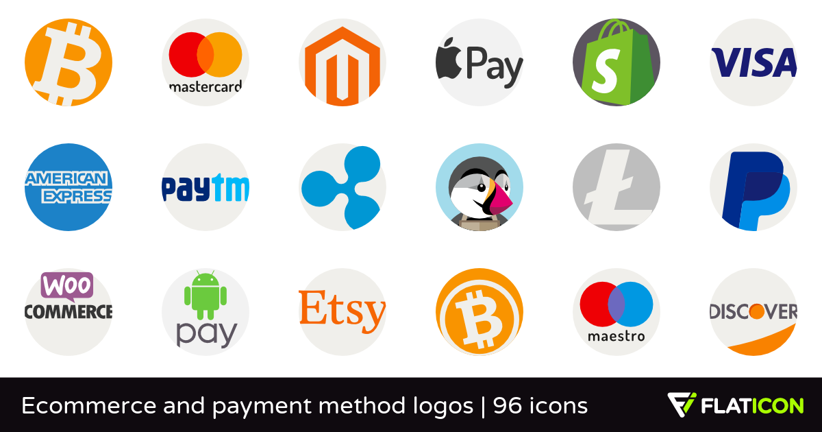 Ecommerce and payment method logos 96 free icons (SVG, EPS, PSD, PNG.