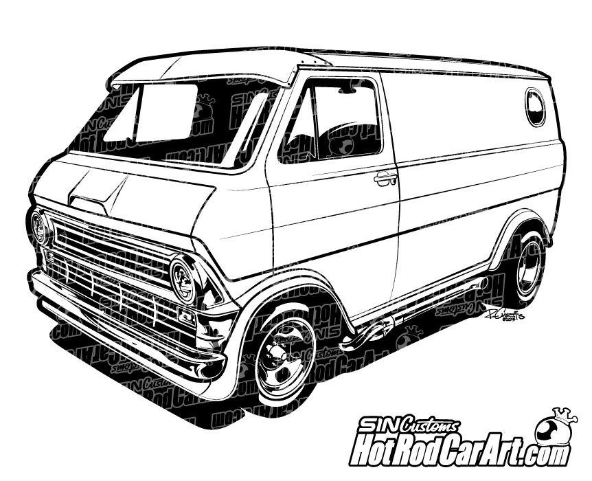 1974 Custom Ford Econoline Van.