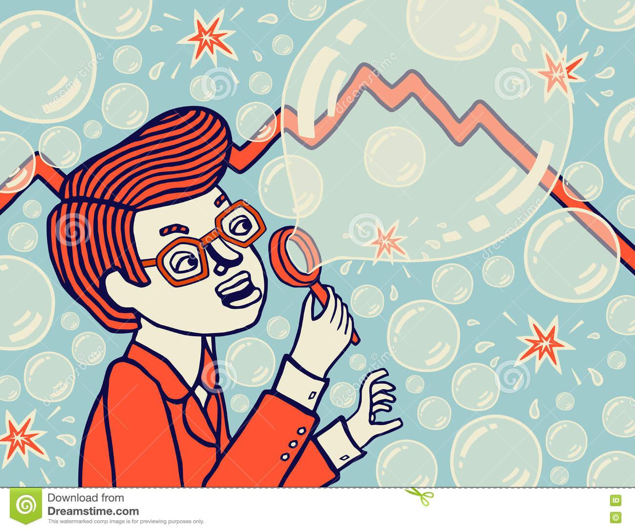 Bubble Economy. Economic Collapse. Vector Illustration. Stock.