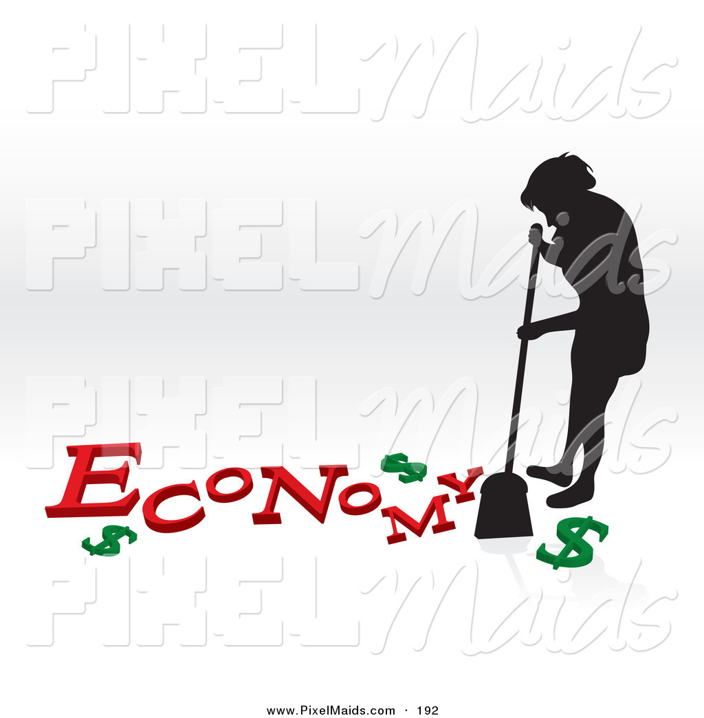Clipart of a Silhouetted Woman Sweeping up the Economy Crisis on.