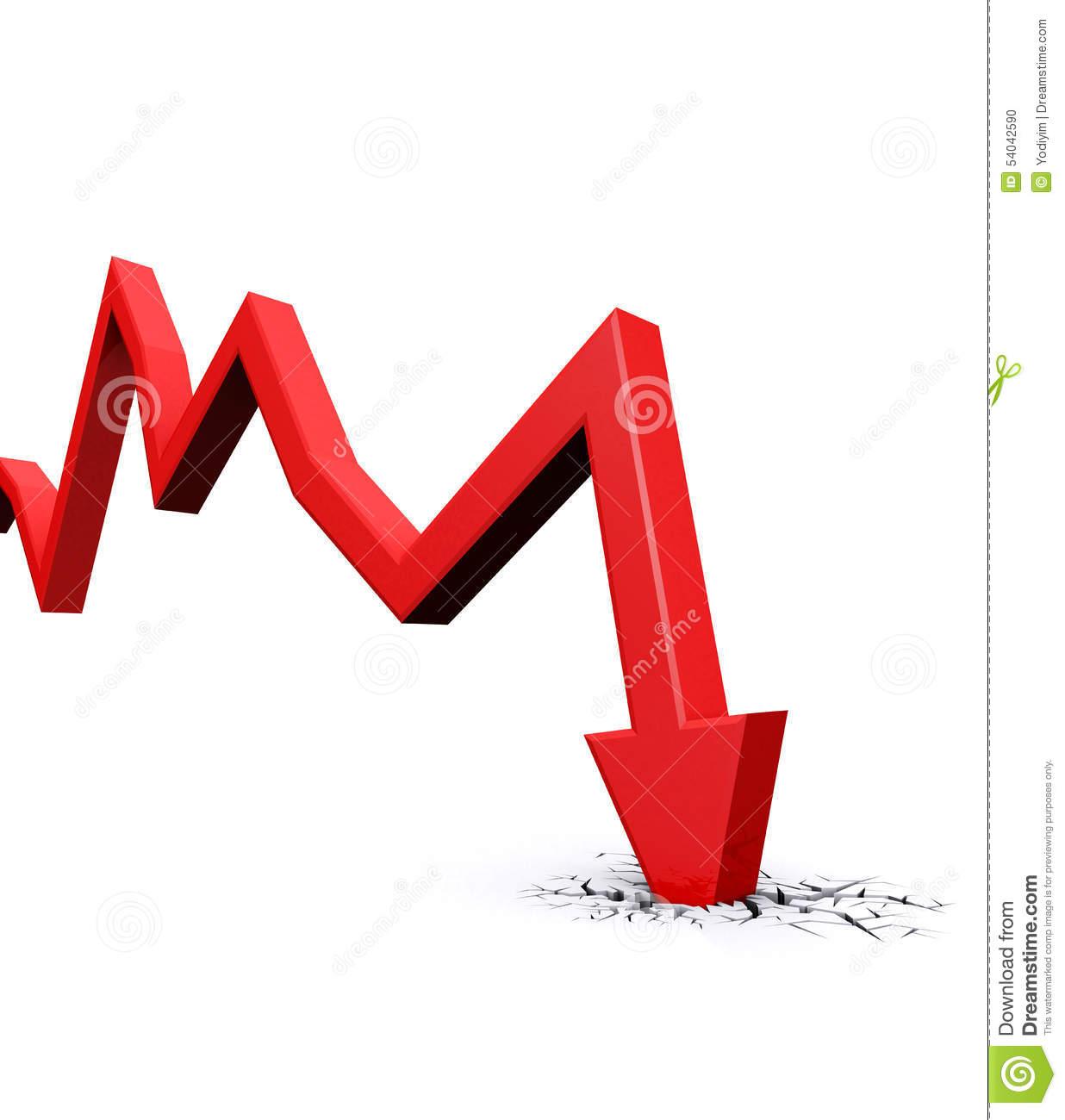 Economic Crisis. Business Fall. Stock Illustration.
