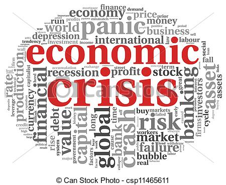 Clipart of Economic crisis concept on white.