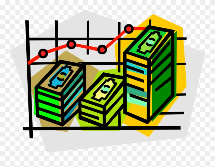 Vector Illustration Of Sales Chart With Dollar Paper.