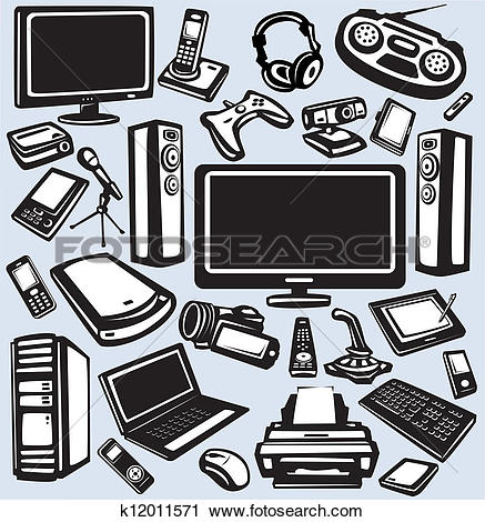 Clip Art of Electronics items icons k7650849.