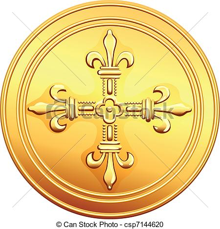 Vector Clip Art of vector French money ecu gold coin.
