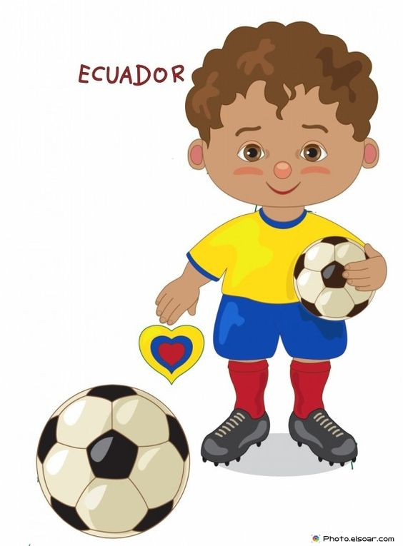Ecuador National Jersey, Cartoon Soccer Player.