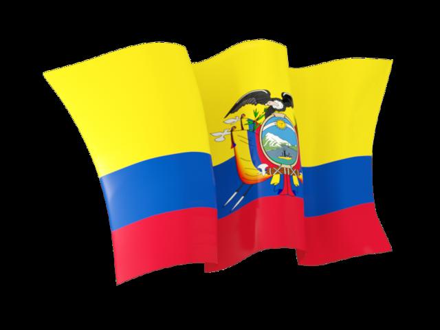 Waving flag. Illustration of flag of Ecuador.