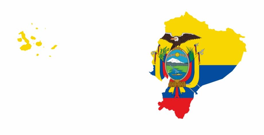 Flag Map Of Ecuador With Galapagos Islands.