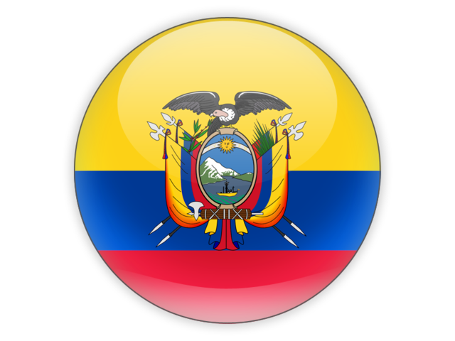 Round icon. Illustration of flag of Ecuador.