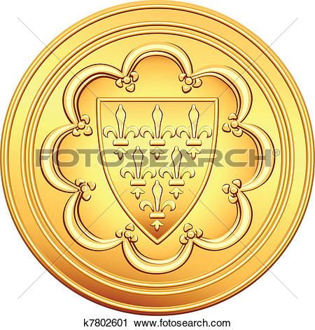 Clipart of vector French money ecu gold coin k7802601.