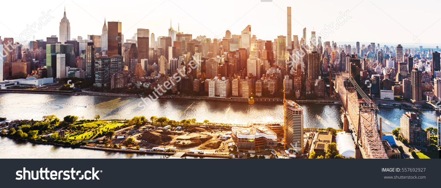 Aerial View Ed Koch Queensboro Bridge Stock Photo 557692927.