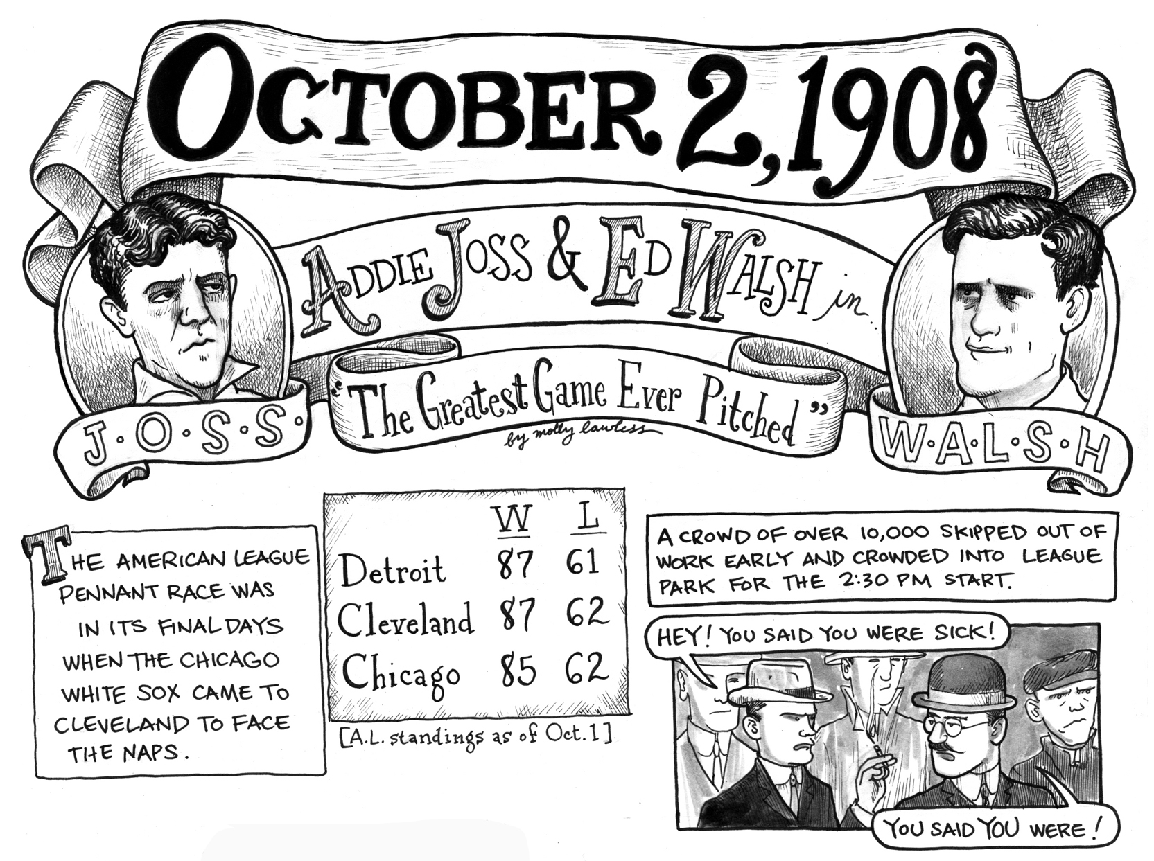 October 2, 1908: Addie Joss and Ed Walsh.
