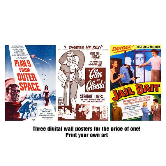 Items similar to Ed Wood Movie Posters Clipart, Set of 3 // Plan 9.