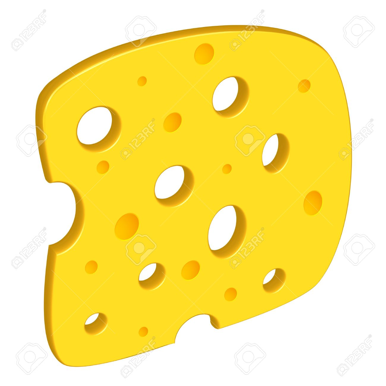 Cheese Clipart Against White Background, Abstract Art Illustration.