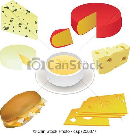 Vectors Illustration of cheese set.