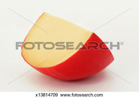 Stock Photograph of Wedge of Dutch Edam cheese on white background.