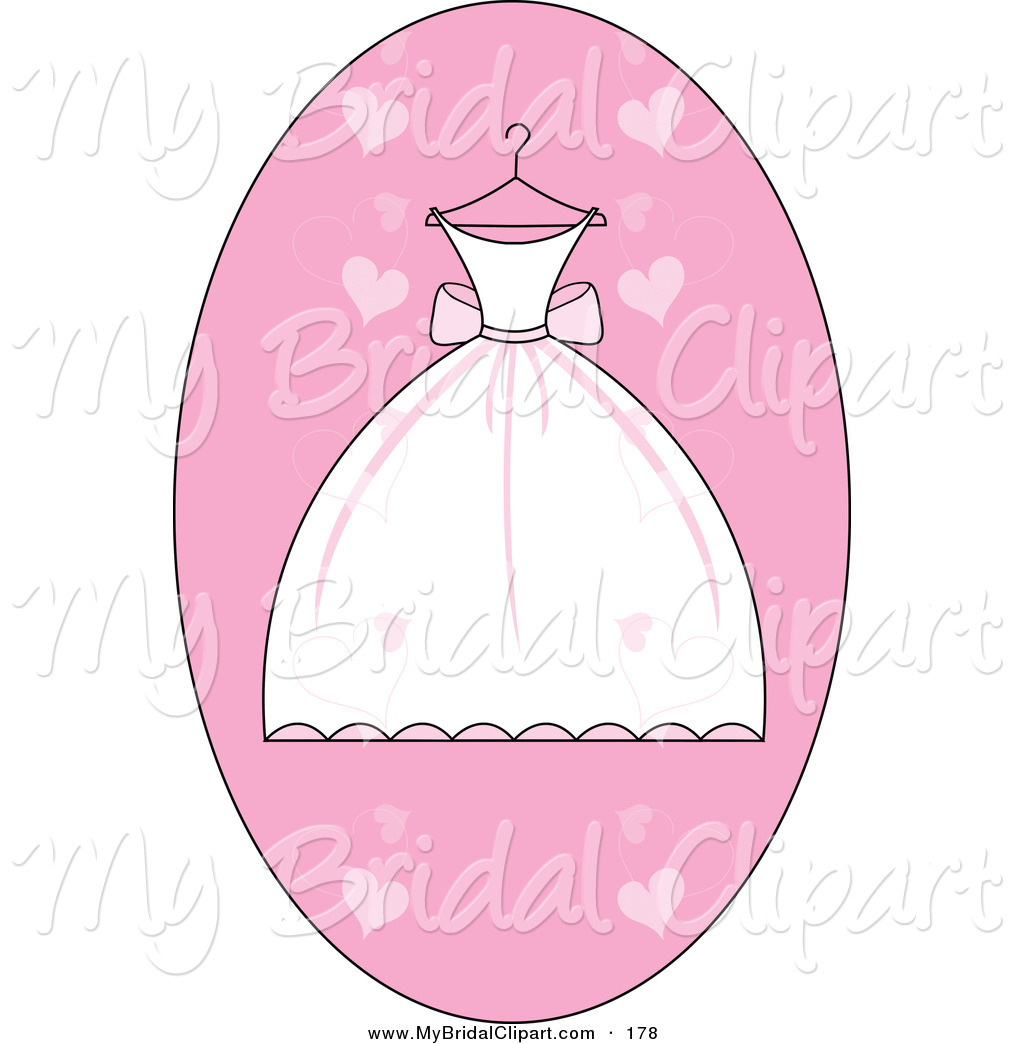 Bridal Clipart of a White and Pink Pretty Wedding Dress on a.
