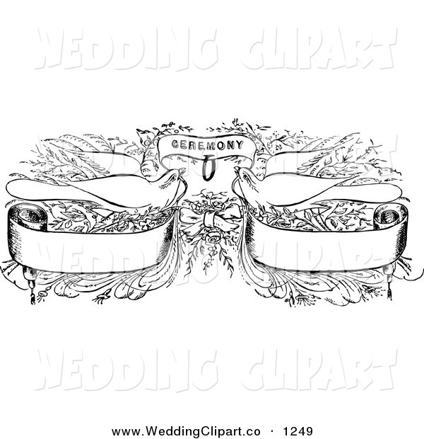 Vector Marriage Clipart of Vintage Black and White Wedding Doves.
