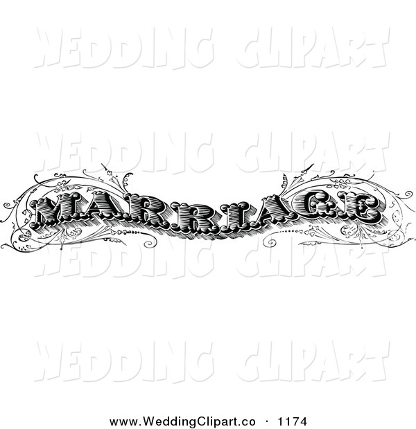 Vector Marriage Clipart of a Wedding Vintage Black and White.