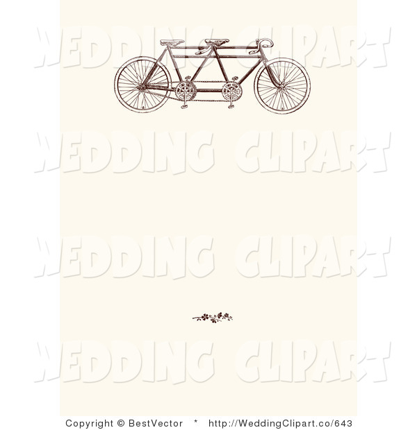 Vector Marriage Clipart of a Wedding Vintage Tandem Bicycle and.