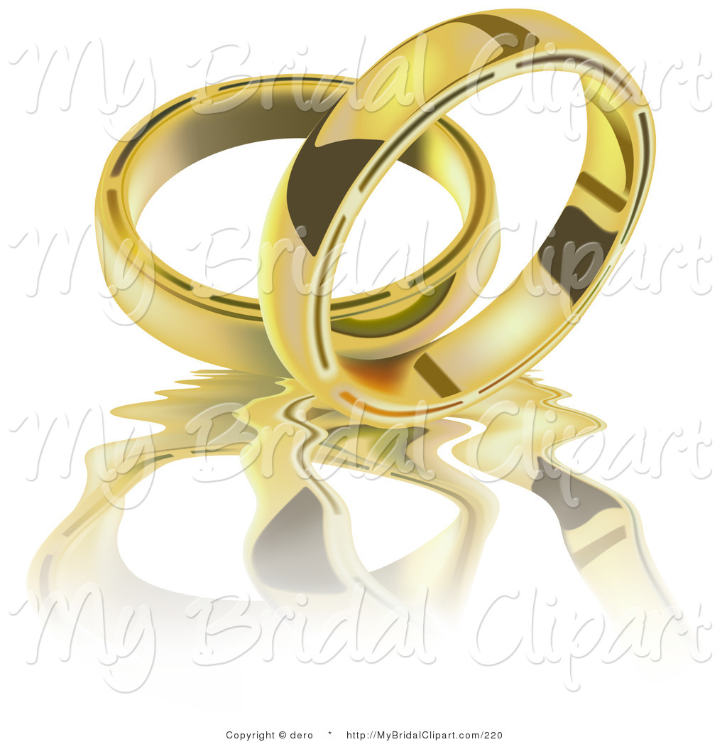 Bridal Clipart of Two Golden Wedding Band Rings on a Rippling.