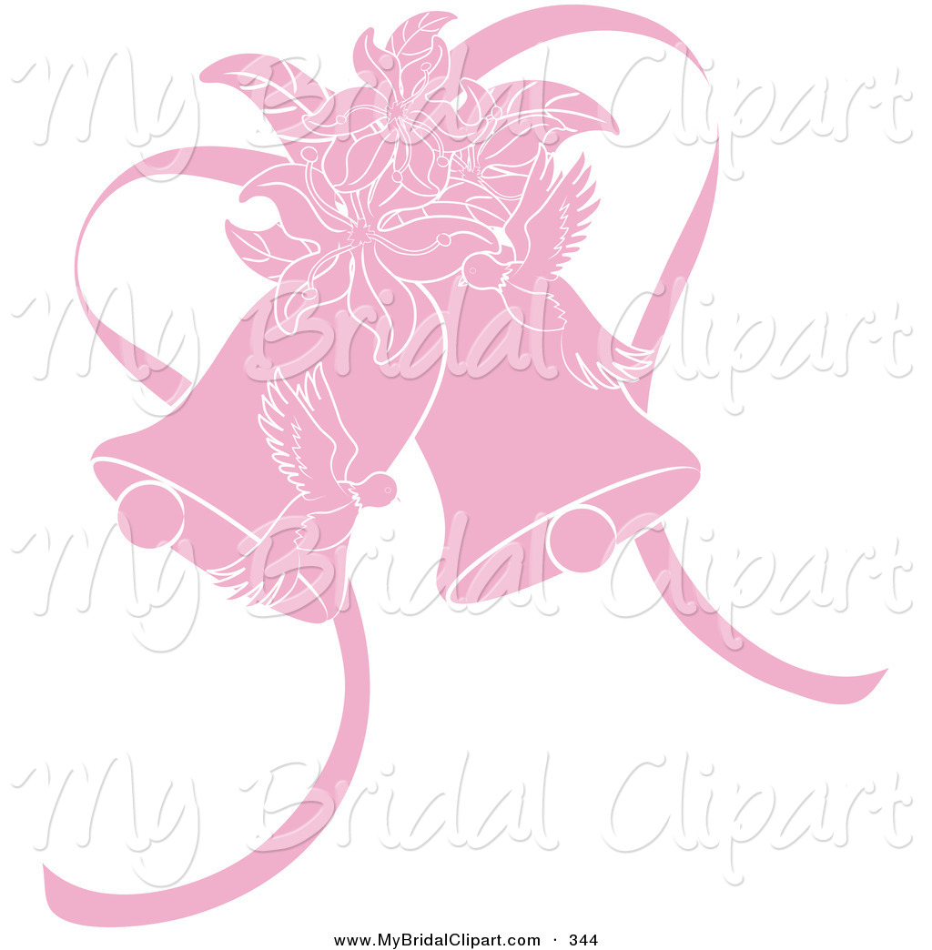 Bridal Clipart of a Pink Doves, Lilies and Wedding Bells on White.