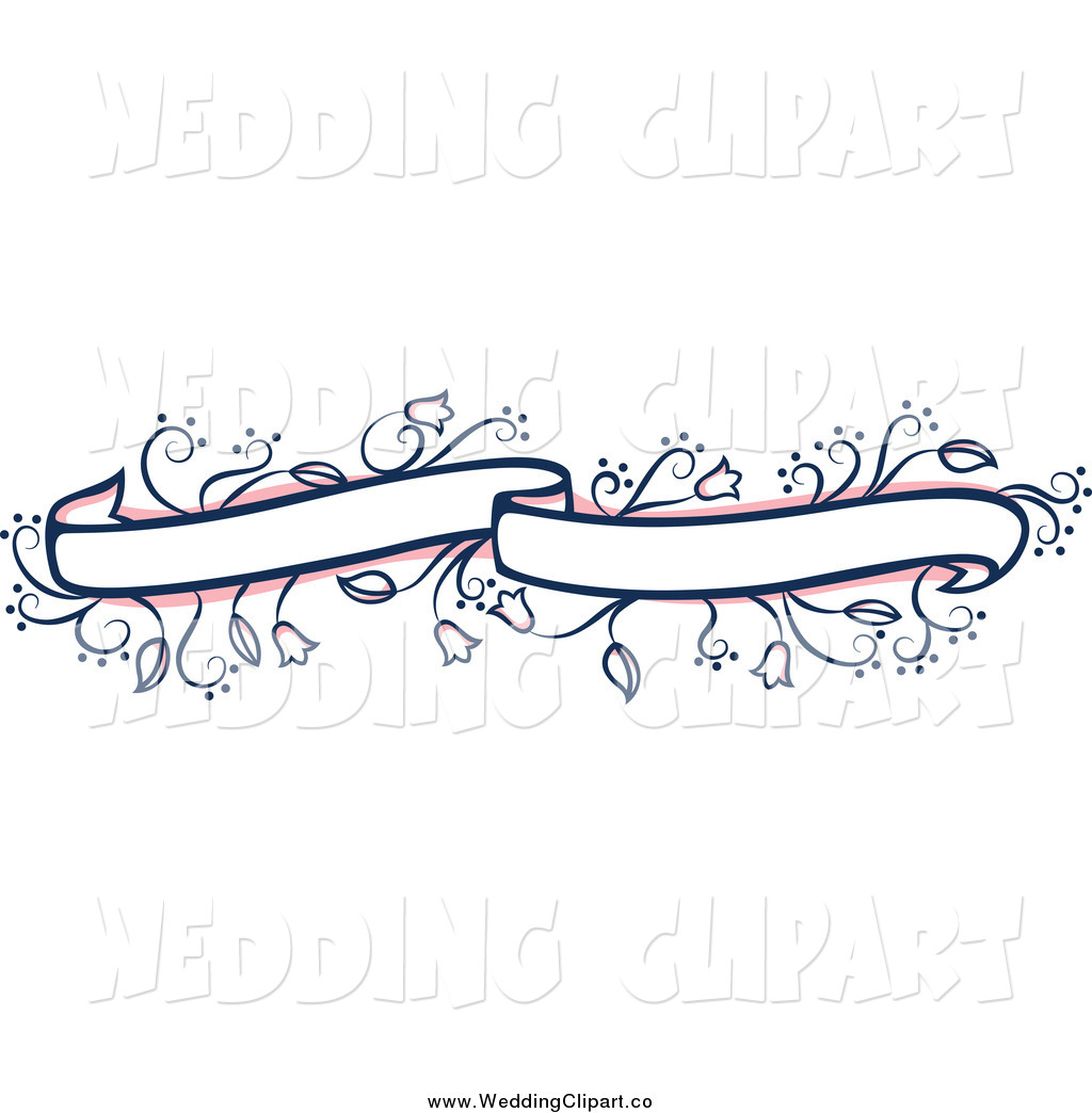 Vector Marriage Clipart of a Pink and Blue Floral Vine Wedding.