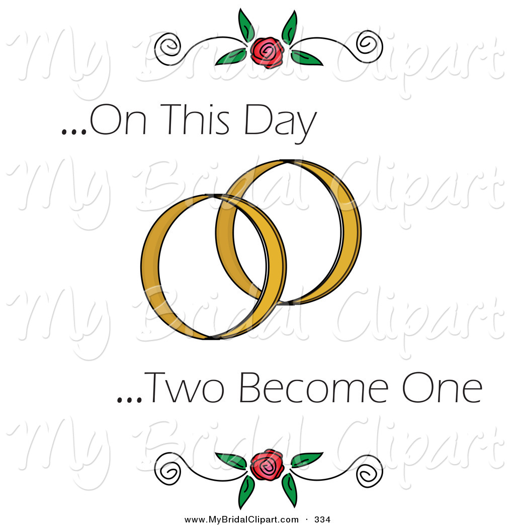 Bridal Clipart of a on This Day Two Become One Text with Roses and.