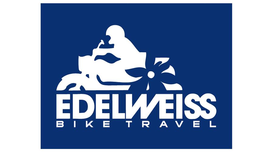 Edelweiss Bike Travel Vector Logo.