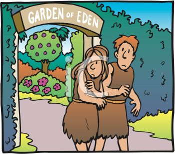Royalty Free Clipart Image: Adam and Eve, Clothed, Leaving the.