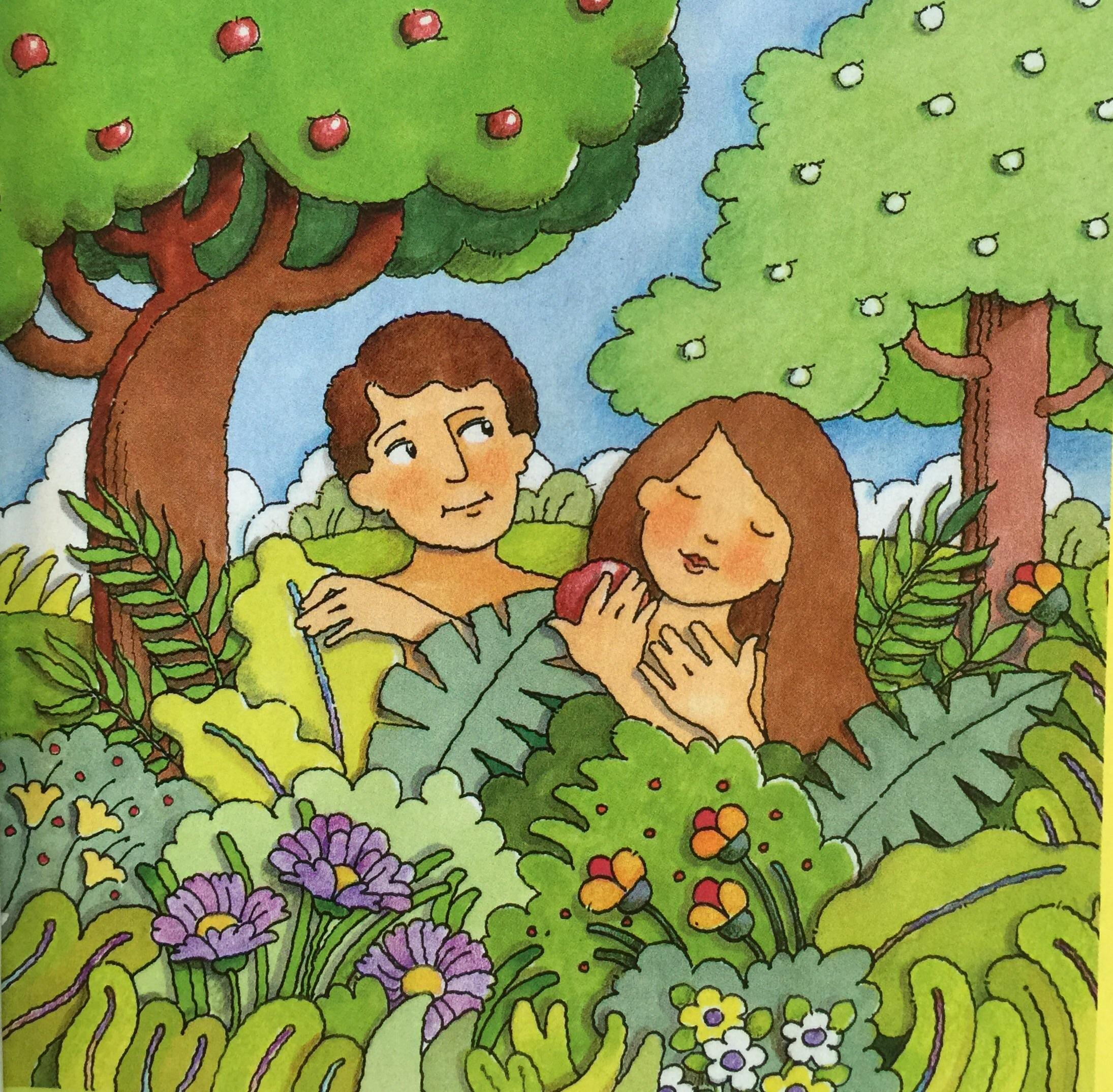 Eve in garden of eden clipart.