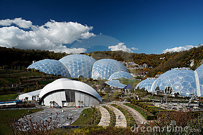 Eden Project Biomes Panorama In St. Austell Cornwall Stock Photo.