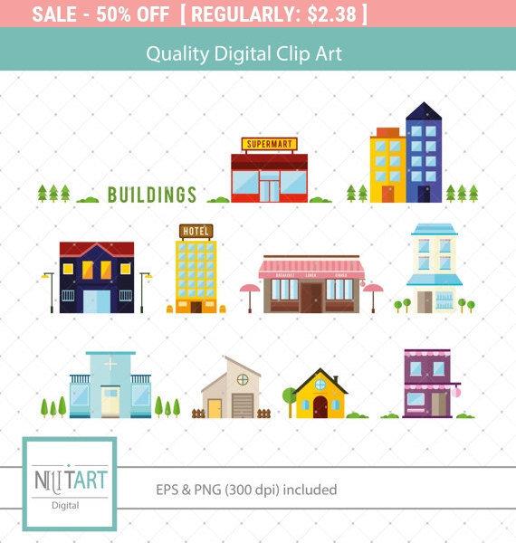 50% Off Sale Building clip art edifice clip art vector by NilitArt.
