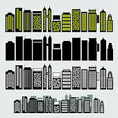Clipart of Edifice buildings icons set k19607254.