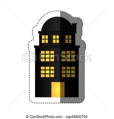 Vector Clipart of sticker edifice residence with three floors and.