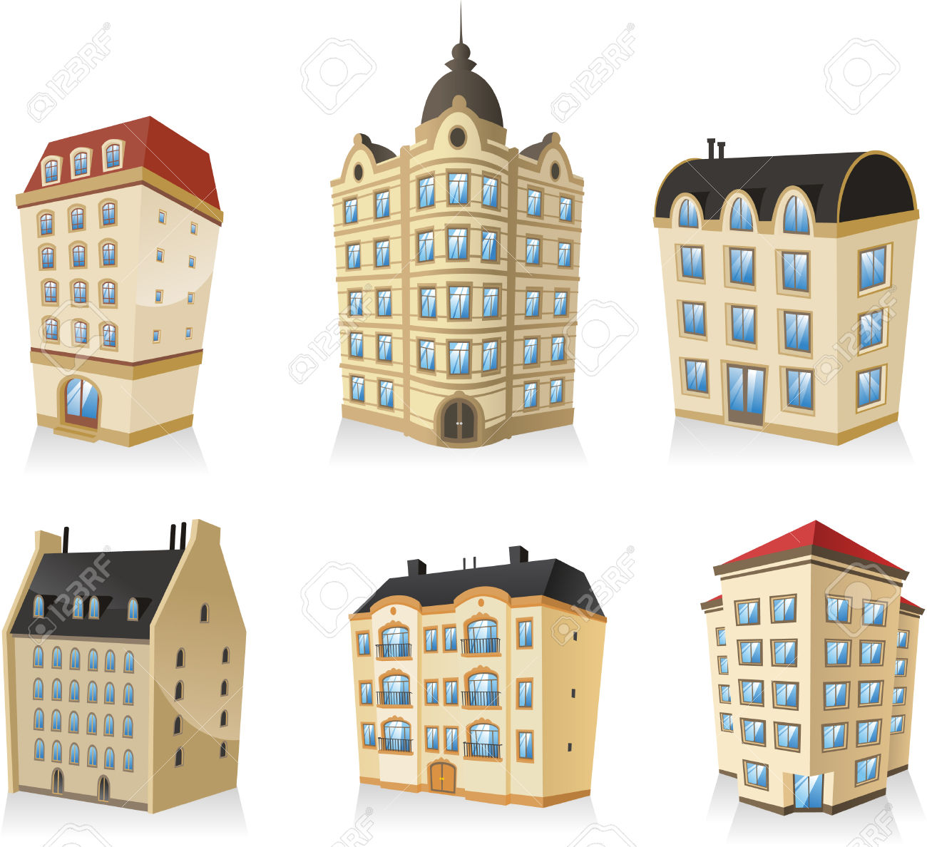 Set 01, Rich Luxury High Class Classic Building Edifice Structure.