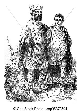 Stock Illustration of King Edgar and a noble Saxon, vintage.