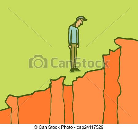 Clipart Vector of Man on a cliff edge digging ground.