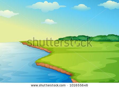 Illustration Of Open Grass Field On Waters Edge.