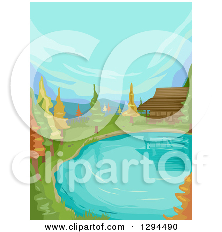 Clipart of a Cabin at the Edge of a Lake or Pond with Autumn Trees.